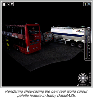 Rendering showcasing the new real world colour palette feature in Bathy DataBASE.