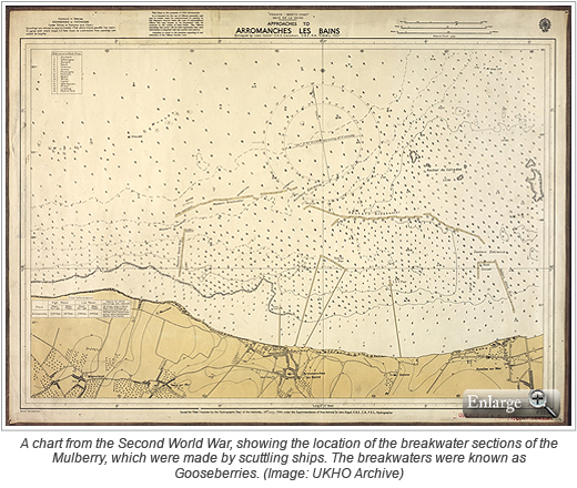 A chart from the Second World War, showing the location of the breakwater sections of the Mulberry, which were made by scuttling ships. The breakwaters were known as Gooseberries. (Image: UKHO Archive)