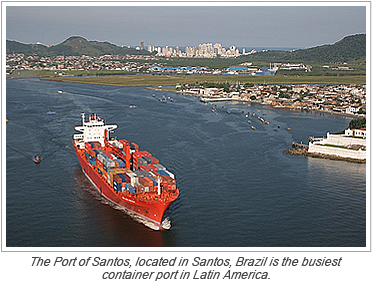 The Port of Santos, located in Santos, Brazil is the busiest container port in Latin America.