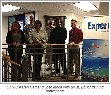 CARIS' Karen Hart and Josh Mode with BASE Editor training participants.