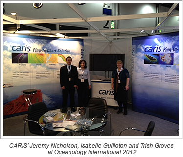 CARIS' Jeremy Nicholson, Isabelle Guilloton and Trish Groves at Oceanology International 2012