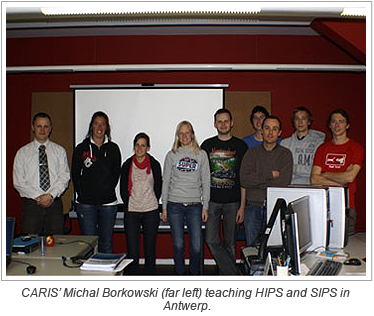 CARIS' Michal Borkowski (far left) teaching HIPS and SIPS in Antwerp.
