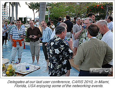 Delegates at our last user conference, CARIS 2010, in Miami, Florida, USA enjoying some of the networking events.