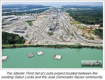 The Atlantic Third Set of Locks project located between the existing Gatun Locks and the Jose Dominador Bazan community.
