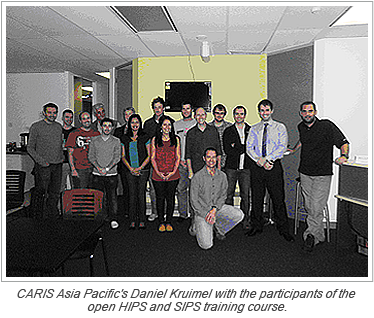 CARIS Asia Pacific's Daniel Kruimel with the participants of the open HIPS and SIPS training course.