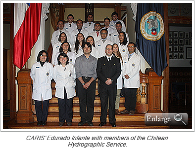 CARIS' Edurado Infante with members of the Chilean Hydrographic Service.