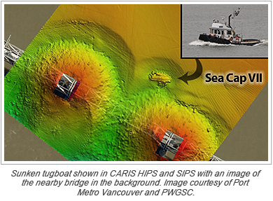 Sunken tugboat shown in CARIS HIPS and SIPS with an image of the nearby bridge in the background. Image courtesy of Port Metro Vancouver and PWGSC.