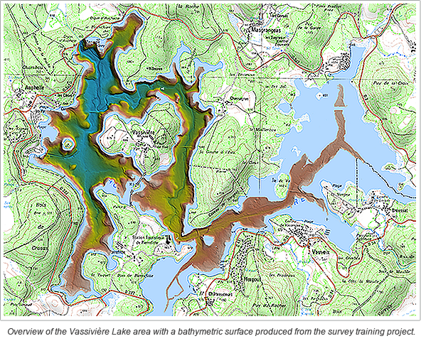 Overview of the Vassivière Lake area with a bathymetric surface produced from the survey training project.