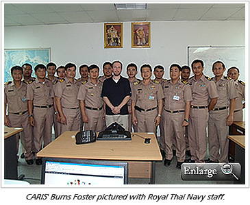 CARIS' Burns Foster pictured with Royal Thai Navy staff.