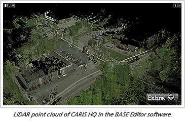 LiDAR point cloud of CARIS HQ in the BASE Editor software.