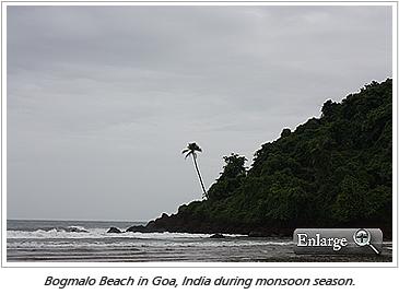 Bogmalo Beach in Goa, India during monsoon season.