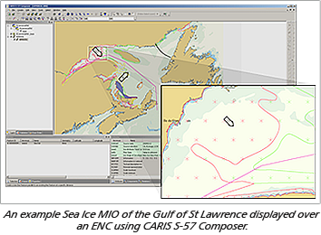 An example Sea Ice MIO of the Gulf of St Lawrence displayed over an ENC using CARIS S-57 Composer.
