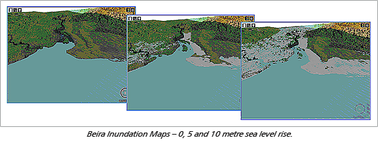 Beira Inundation Maps – 0, 5 and 10 metre sea level rise.