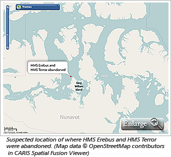 Suspected location of where HMS Erebus and HMS Terror were abandoned. (Map data © OpenStreetMap contributors in CARIS Spatial Fusion Viewer)