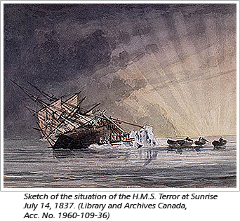 Sketch of the situation of the H.M.S. Terror at Sunrise July 14, 1837. (Library and Archives Canada, Acc. No. 1960-109-36)