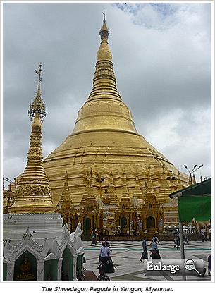 The Shwedagon Pagoda in Yangon, Myanmar.