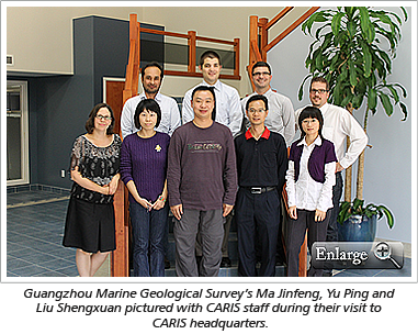 Guangzhou Marine Geological Survey's Ma Jinfeng, Yu Ping and Liu Shengxuan pictured with CARIS staff during their visit to CARIS headquarters.