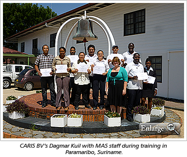 CARIS BV's Dagmar Kuil with MAS staff during training in Paramaribo, Suriname.