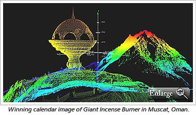Winning calendar image of Giant Incense Burner in Muscat, Oman.