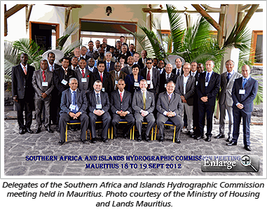 Delegates of the Southern Africa and Islands Hydrographic Commission meeting held in Mauritius. Photo courtesy of the Ministry of Housing and Lands Mauritius.
