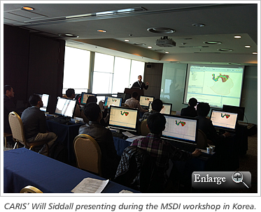 CARIS' Will Siddall presenting during the MSDI workshop in Korea.