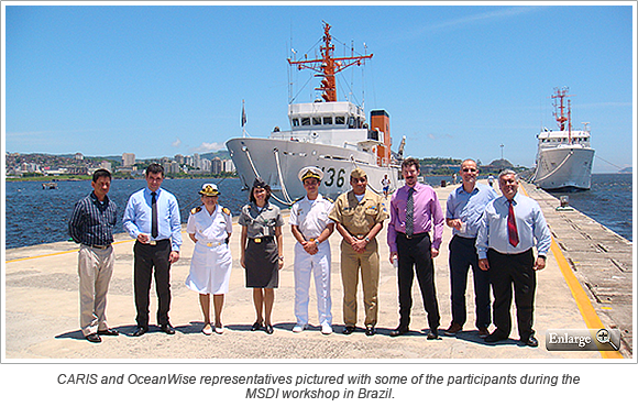 CARIS and OceanWise representatives pictured with some of the participants during the MSDI workshop in Brazil
