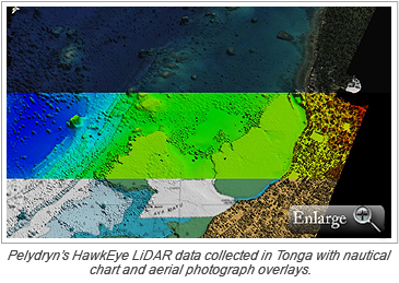 Pelydryn's HawkEye LiDAR data collected in Tonga with nautical chart and aerial photograph overlays.