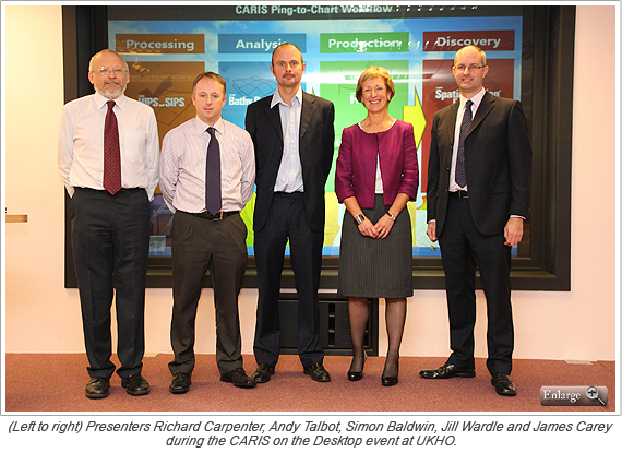 (Left to right) Presenters Richard Carpenter, Andy Talbot, Simon Baldwin, Jill Wardle and James Carey during the CARIS on the Desktop event at UKHO.