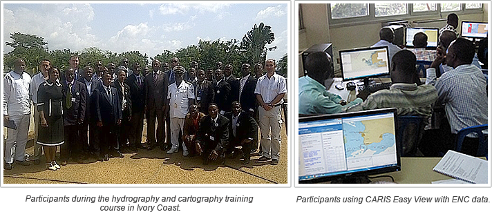 (Picture on the left) Participants during the hydrography and cartography training course in Ivory Coast. (Picture on the right) Participants using CARIS Easy View with ENC data.