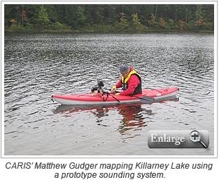 CARIS' Matthew Gudger mapping Killarney Lake using a prototype sounding system.