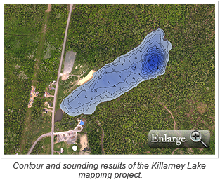 Contour and sounding results of the Killarney Lake mapping project.
