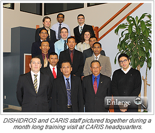DISHIDROS and CARIS staff pictured together during a month long training visit at CARIS headquarters.