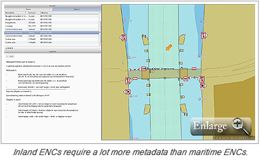 Inland ENCs require a lot more metadata than maritime ENCs.