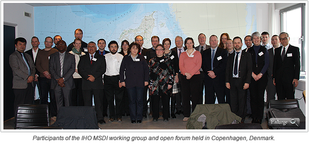 Participants of the IHO MSDI working group and open forum held in Copenhagen, Denmark.