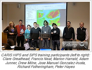 CARIS HIPS and SIPS training participants (left to right): Clare Greathead, Francis Neat, Marion Harrald, Adam Junner, Drew Milne, Jose Manuel Gonzalez-Irusta, Richard Fotheringham, Peter Hayes