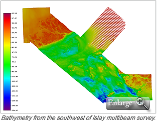 Bathymetry from the southwest of Islay multibeam survey.