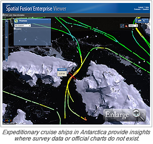 Expeditionary cruise ships in Antarctica provide insights where survey data or official charts do not exist.