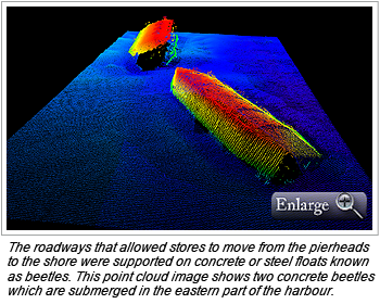 The roadways that allowed stores to move from the pierheads to the shore were supported on concrete or steel floats known as beetles. This point cloud image shows two concrete beetles which are submerged in the eastern part of the harbour.