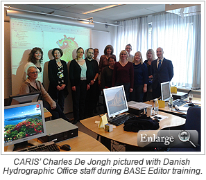 CARIS' Charles De Jongh pictured with Danish Hydrographic Office staff during BASE Editor training.