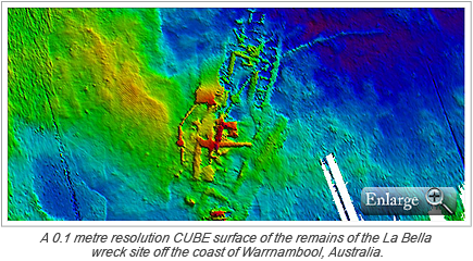 A 0.1 metre resolution CUBE surface of the remains of the La Bella wreck site off the coast of Warrnambool, Australia.