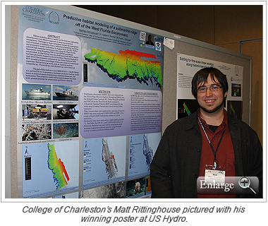 College of Charleston's Matt Rittinghouse pictured with his winning poster at US Hydro.