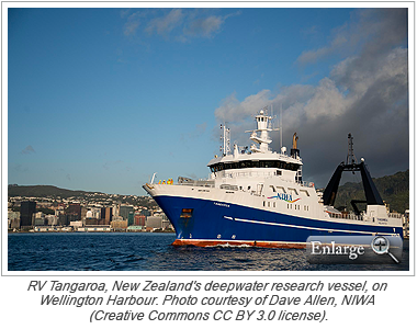 RV Tangaroa, New Zealand's deepwater research vessel, on Wellington Harbour. Photo courtesy of Dave Allen, NIWA (Creative Commons CC BY 3.0 license).