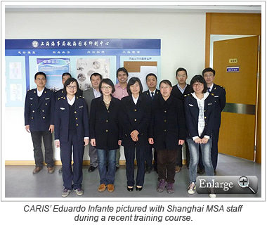 CARIS' Eduardo Infante pictured with Shanghai MSA staff during a recent training course.