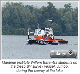 Maritime Institute Willem Barentsz students on the Deep BV survey vessel, Jumbo, during the survey of the lake.