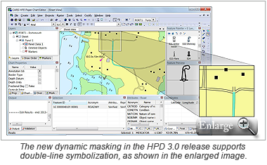The new dynamic masking in the HPD 3.0 release supports double-line symbolization, as shown in the enlarged image.