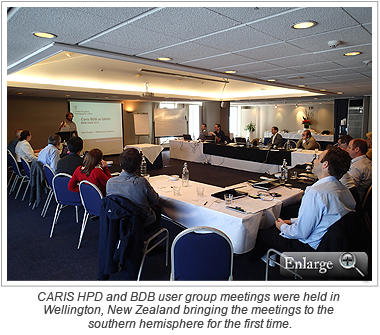 CARIS HPD and BDB user group meetings were held in Wellington, New Zealand bringing the meetings to the southern hemisphere for the first time.