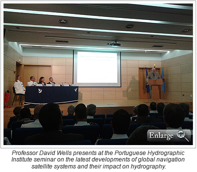 Professor David Wells presents at the Portuguese Hydrographic Institute seminar on the latest developments of global navigation satellite systems and their impact on hydrography.