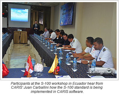 Participants at the S-100 workshop in Ecuador hear from CARIS' Juan Carballini how the S-100 standard is being implemented in CARIS software.