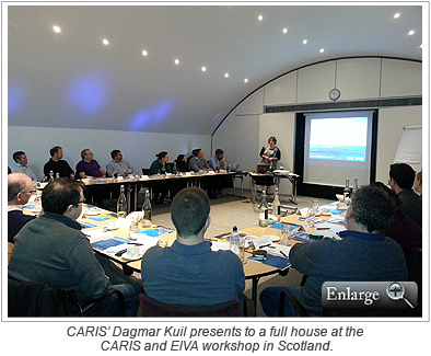 CARIS' Dagmar Kuil presents to a full house at the CARIS and EIVA workshop in Scotland.