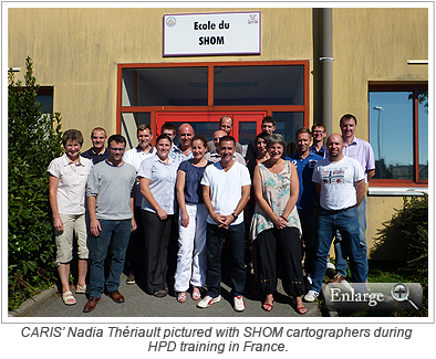 CARIS' Nadia Thériault pictured with SHOM cartographers during HPD training in France.